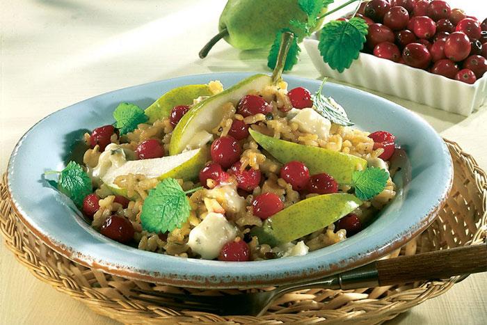 Serviervorschlag Gorgonzola-Risotto mit Birnen