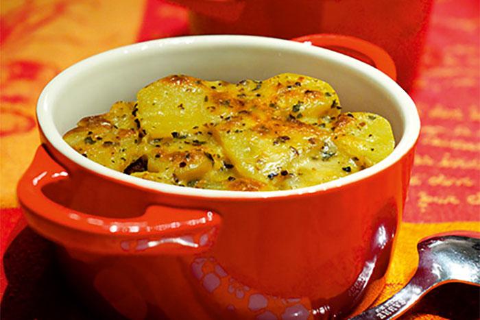 Kartoffelgratin mit Champignons