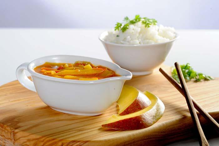 Serviervorschlag Mango Tomatensauce